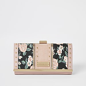 Pink floral printed studded cliptop purse