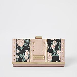 Pinker Geldbeutel mit Blumen-Print, Nieten und Clipverschluss oben