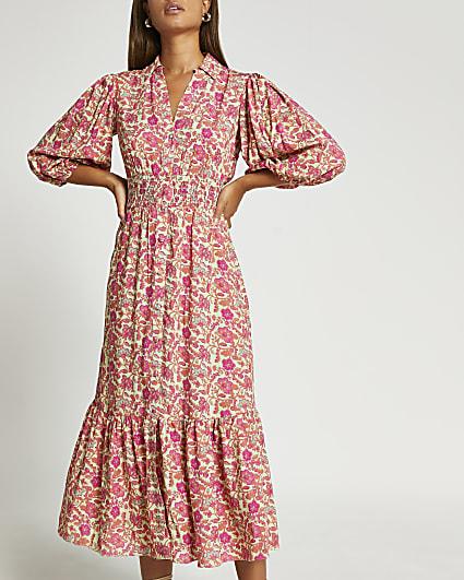 Pink floral puff sleeve shirt dress