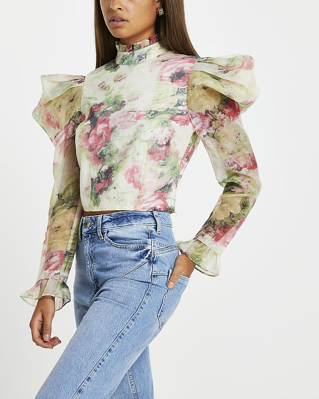 Pink floral puff sleeve top