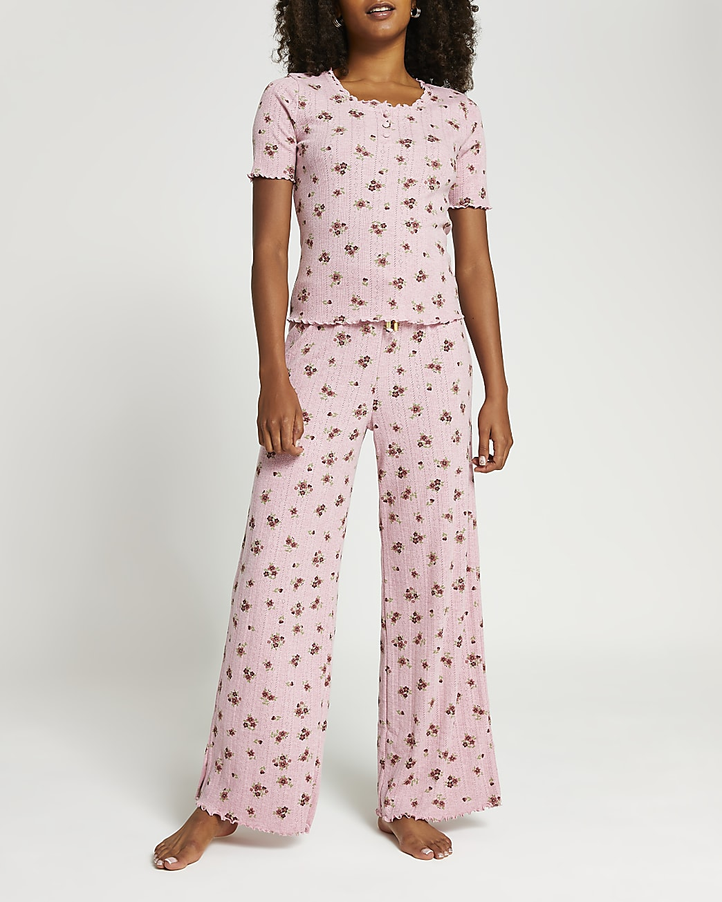 Pink floral pyjama set