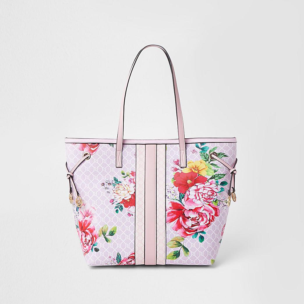 Pink floral RI monogram shopper bag