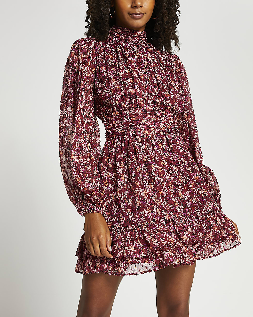 Pink floral ruched mini dress