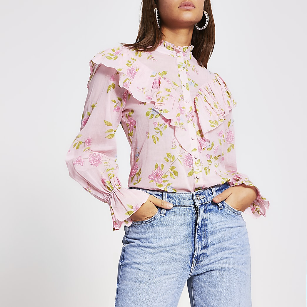 Pink floral ruffle blouse