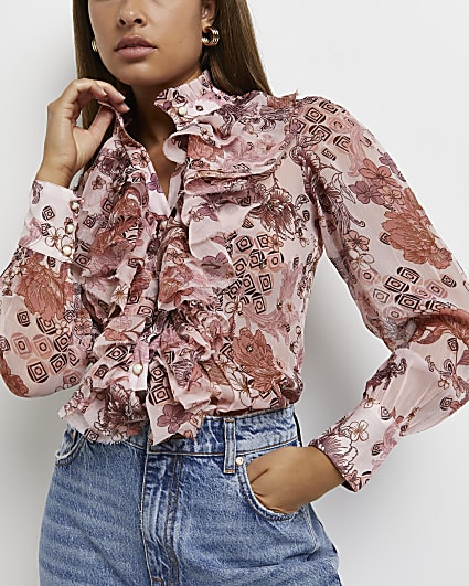 Pink floral ruffled blouse