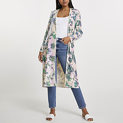 Pink floral sequin duster
