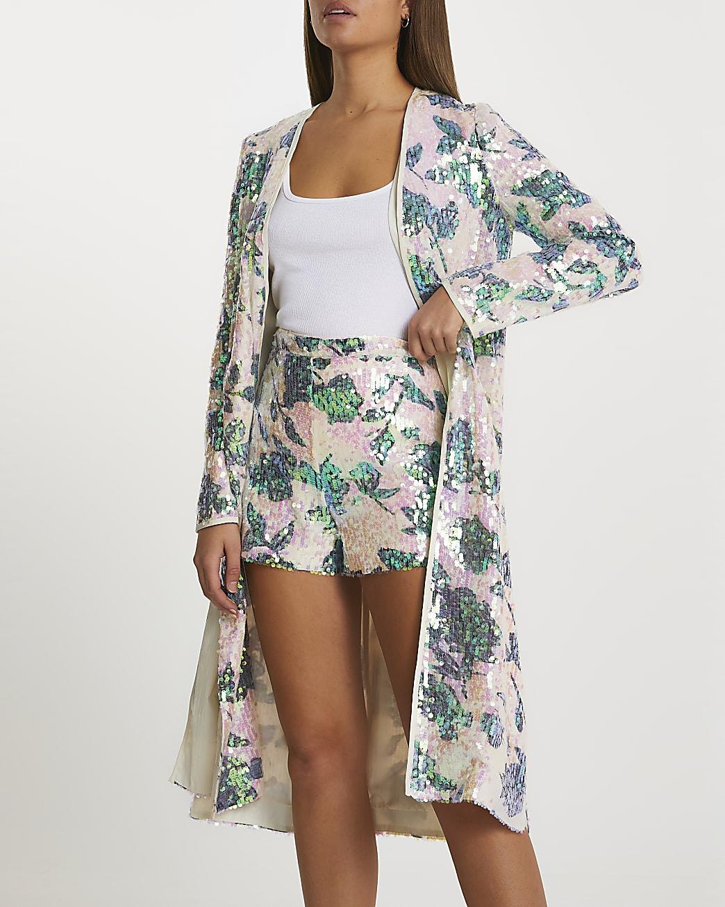 Pink floral sequin shorts