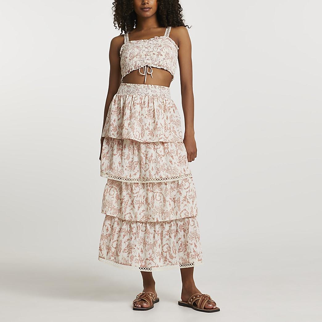 Pink floral shirred layered maxi skirt
