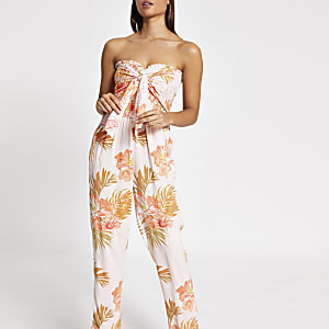 Pink floral shirred tie front beach jumpsuit