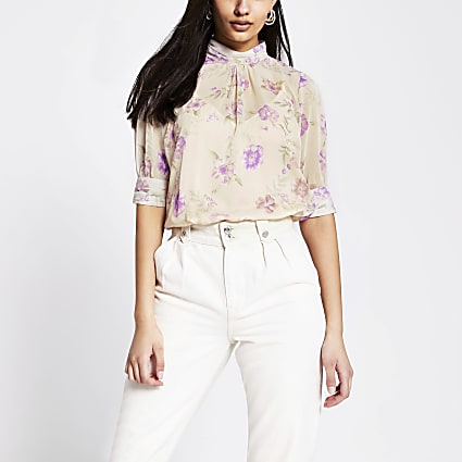 Pink floral short sleeve high neck top