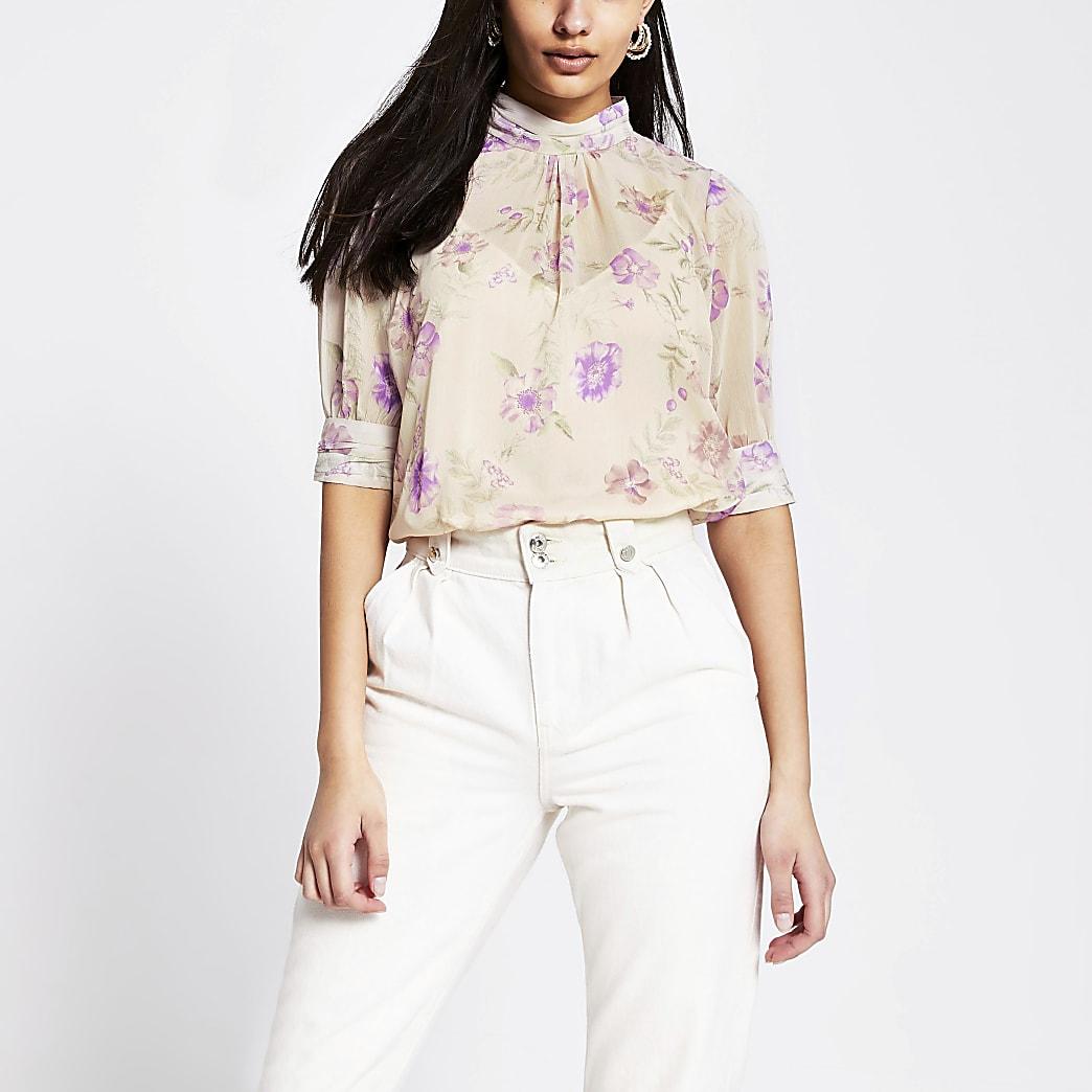Pink floral short sleeve high neck top
