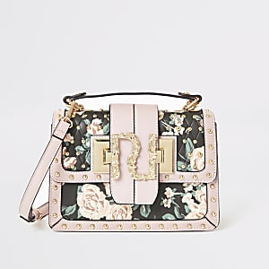 Pink floral studded RI satchel bag