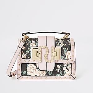 Roze RI satcheltas met bloemenprint en studs