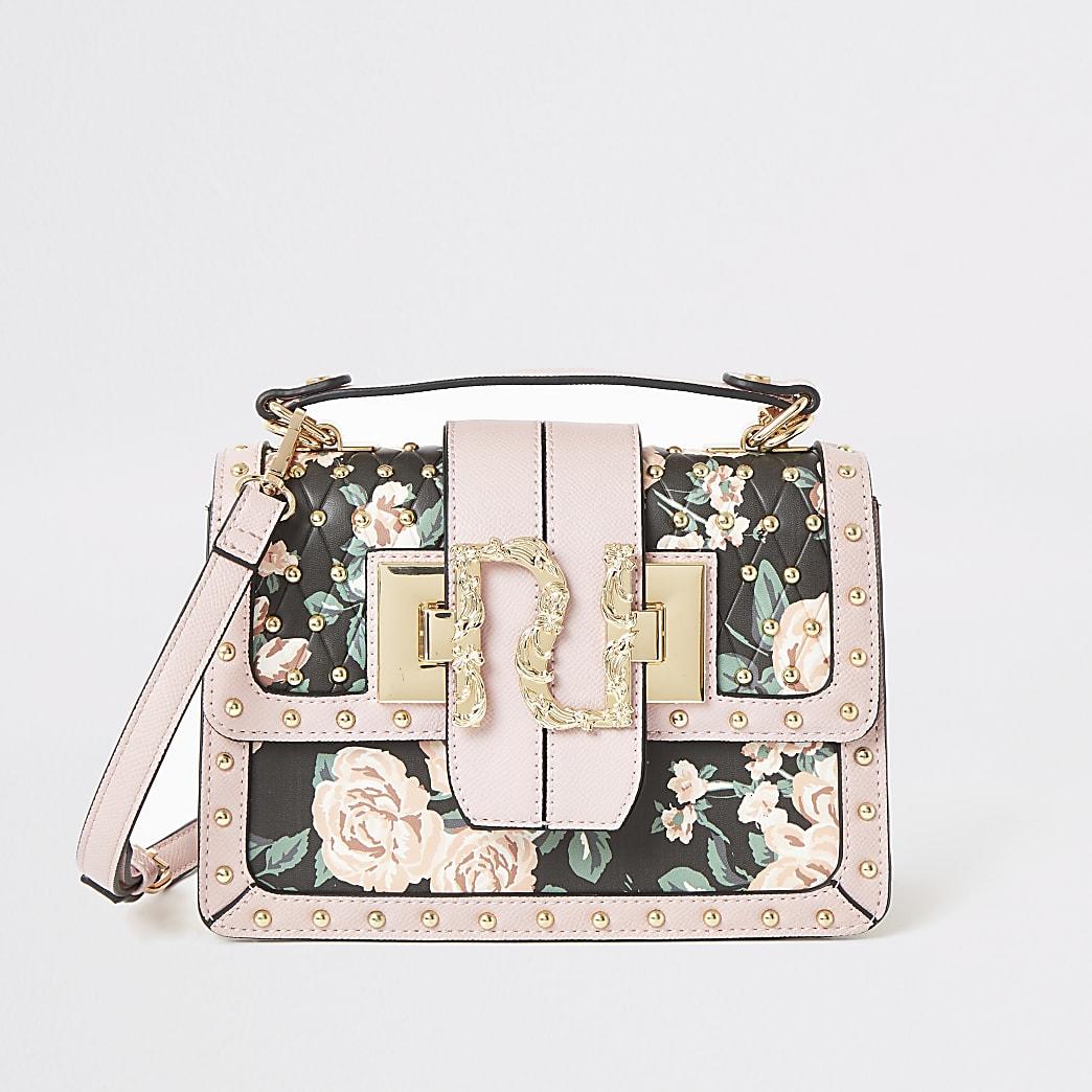 Pinke RI-Satchel-Tasche mit Nieten und Blumenmuster
