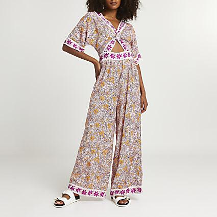 Pink floral twist front jumpsuit