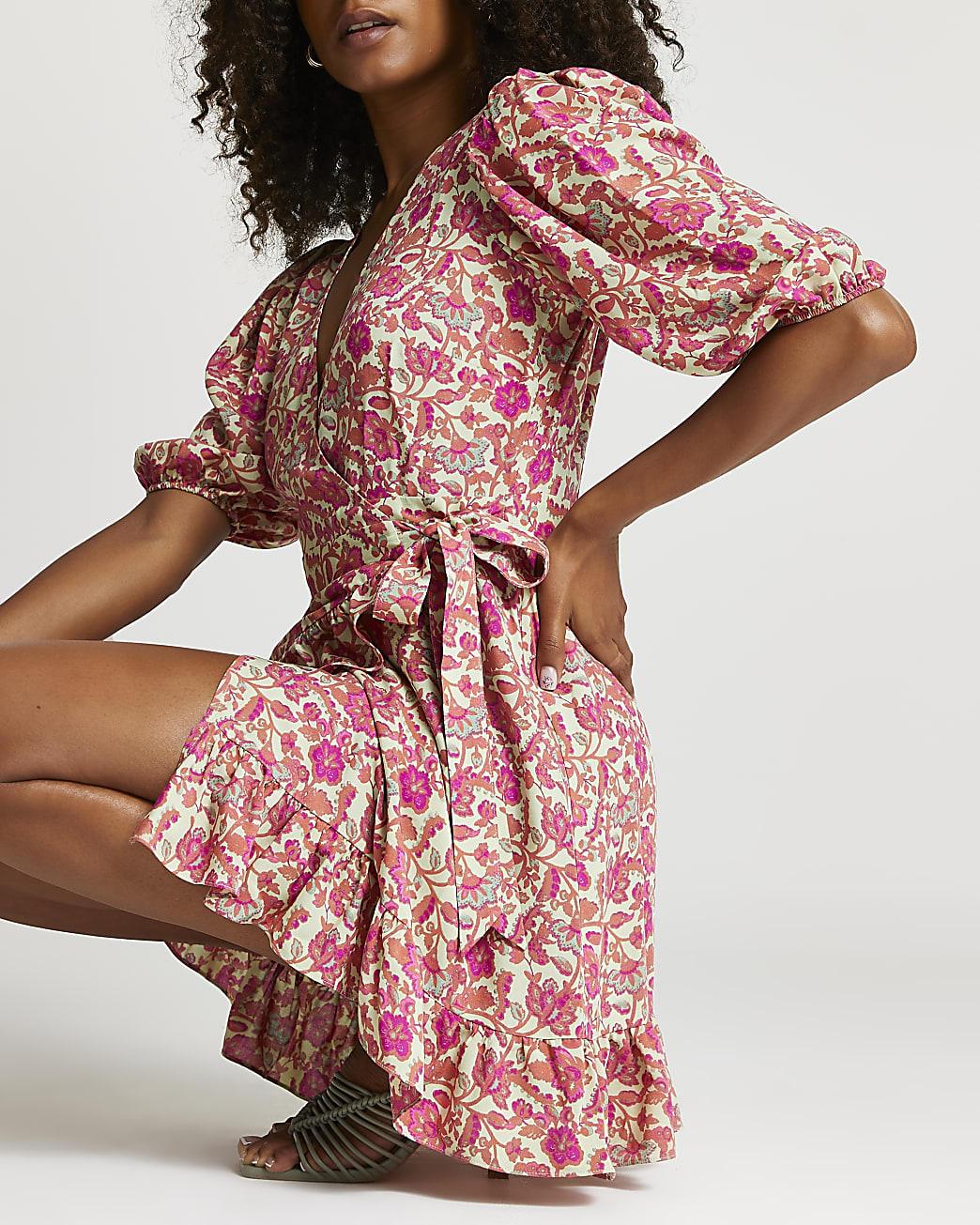 Pink floral wrap frill detail mini dress