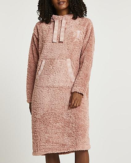 Pink fluffy hooded longline jumper