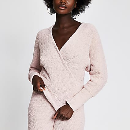 Pink fluffy knit long sleeve wrap top