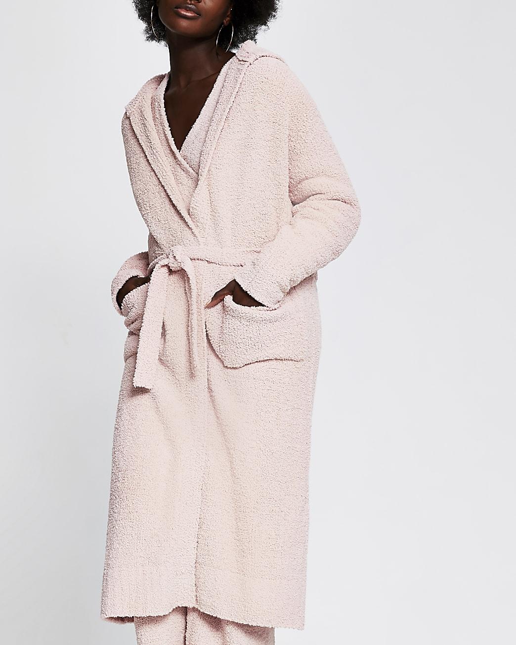 Pink fluffy knit longline hooded cardigan