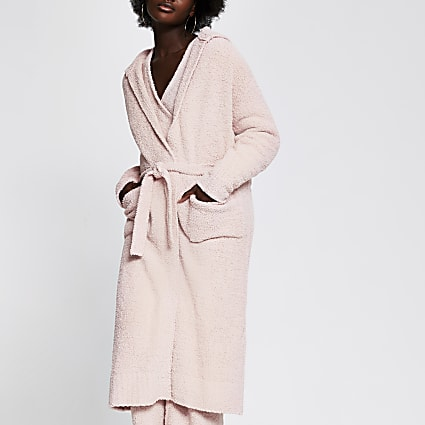 Pink fluffy knit longline hooded cardigan
