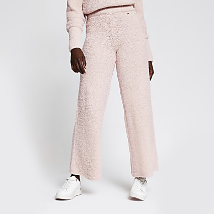 Pink fluffy knit wide leg trousers
