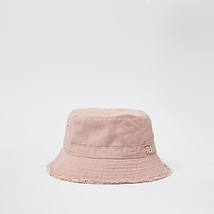 Pink frayed edge twill bucket hat
