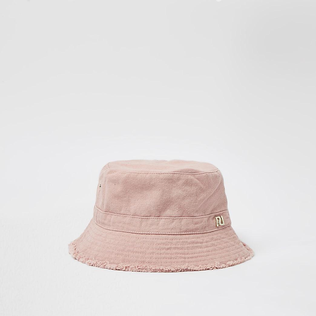 Pink frayed edge twill bucket hat