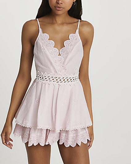 Pink frill beach cover up playsuit