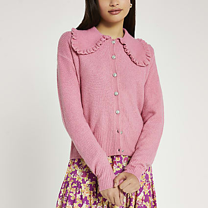 Pink frill collar embellished button cardigan