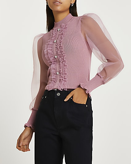 Pink frill detail puff sleeve top
