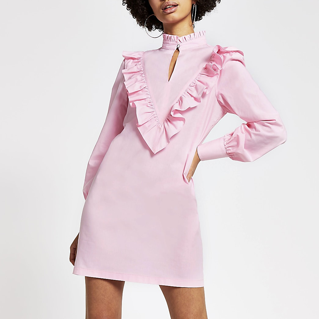 Pink frill high neck long sleeve mini dress
