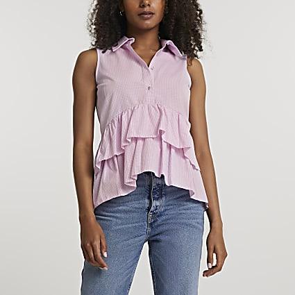 Pink frill layered smock shirt