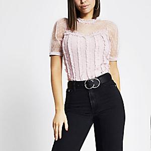Roze mesh T-shirt met ruches en korte mouwen