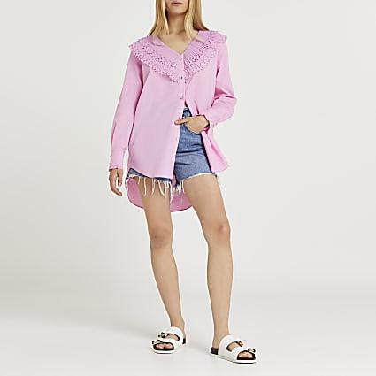 Pink frill neck long sleeve shirt