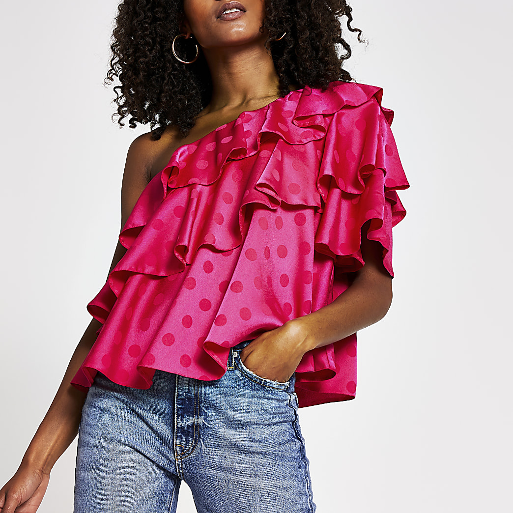 Pink frill one sleeve shoulder top