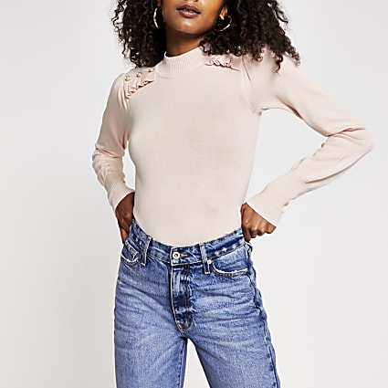 Pink frill pearl button turtle neck top