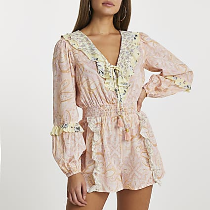 Pink frill printed beach playsuit