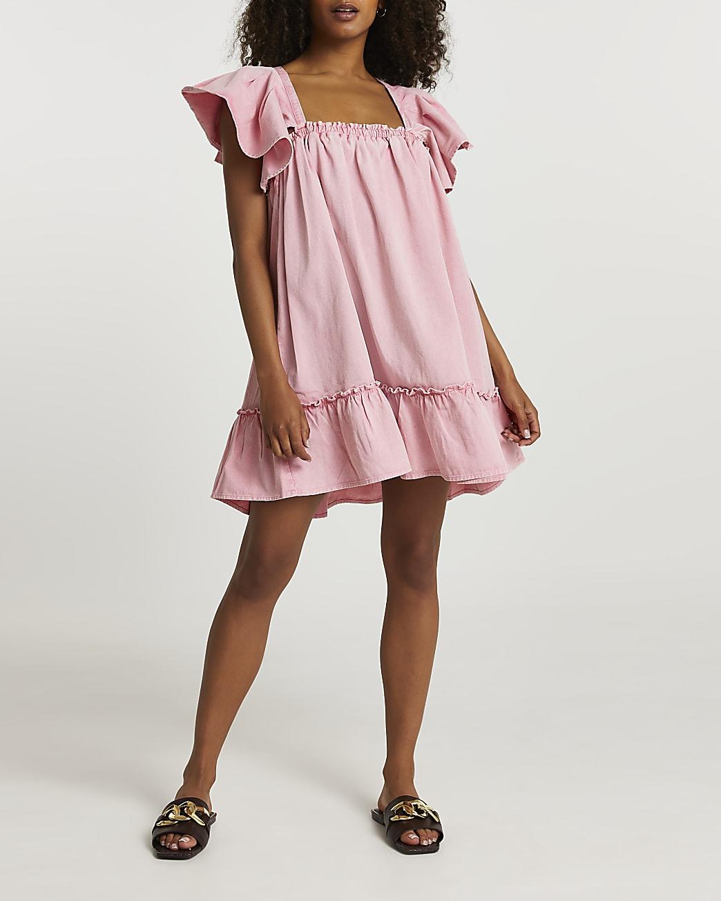 Pink frill sleeve denim smock dress