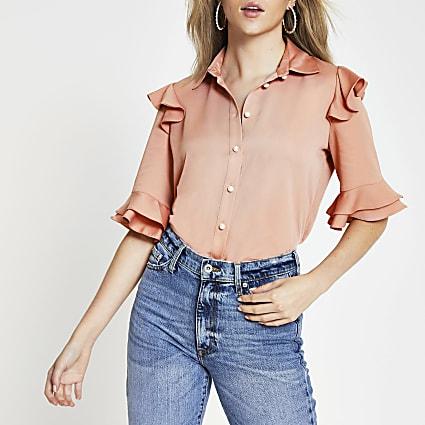 Pink frill sleeve shirt