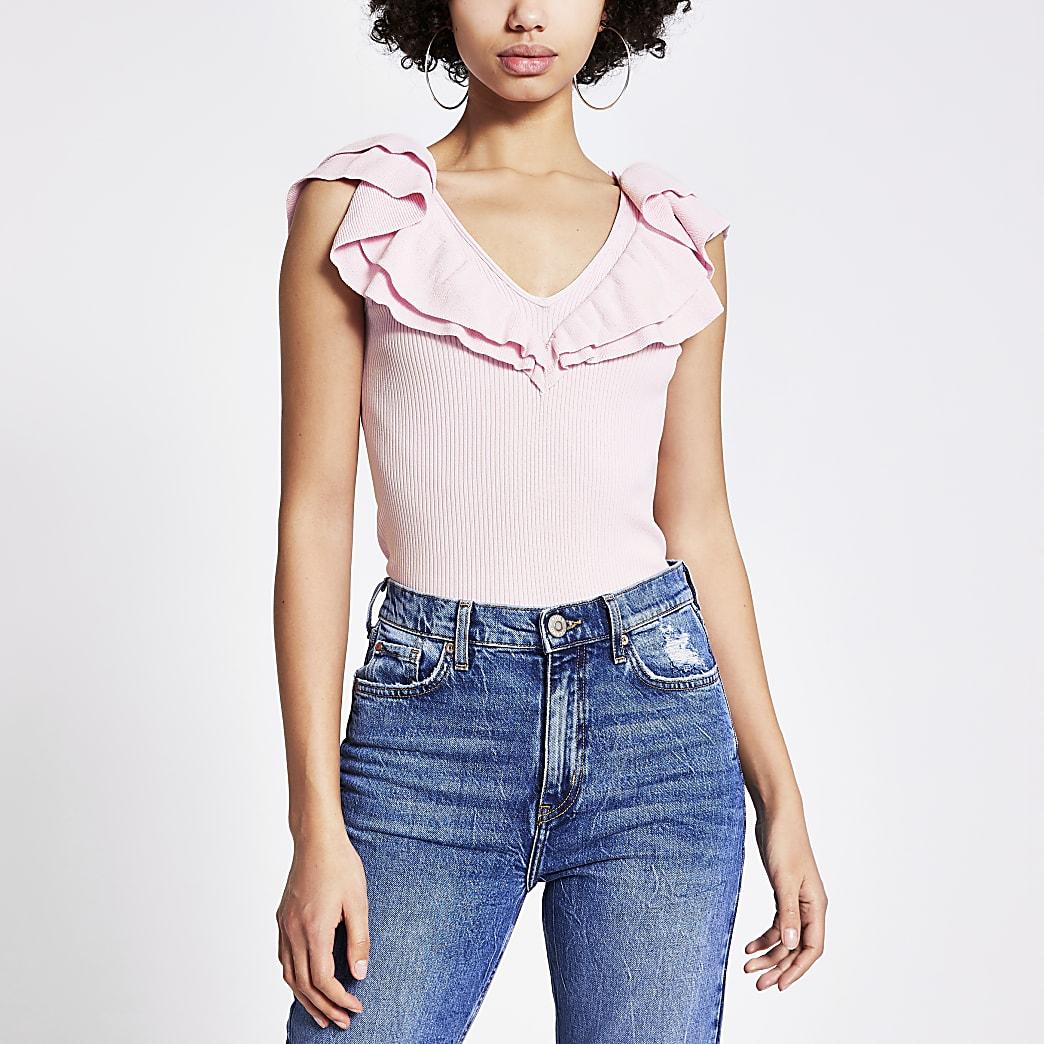 Pink frill V neck knitted vest top