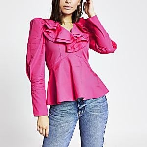 Langärmeliges Popeline-Top in Pink mit gerüschtem V-Ausschnitt