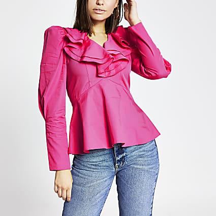Pink frill V neck long sleeve poplin top