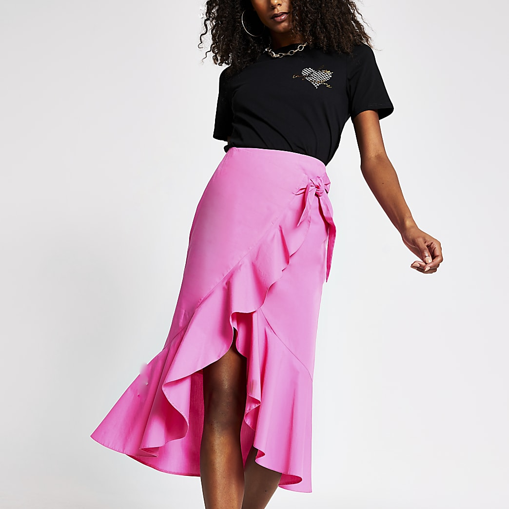 Pink frill wrap midi skirt