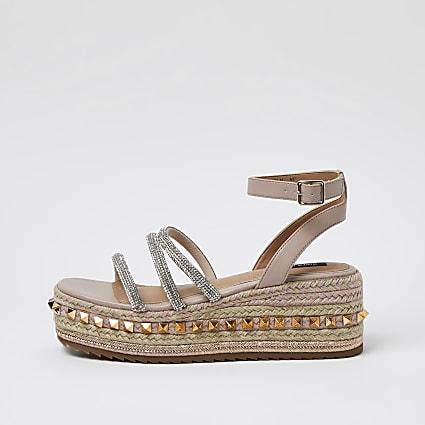Pink gem flatform sandals