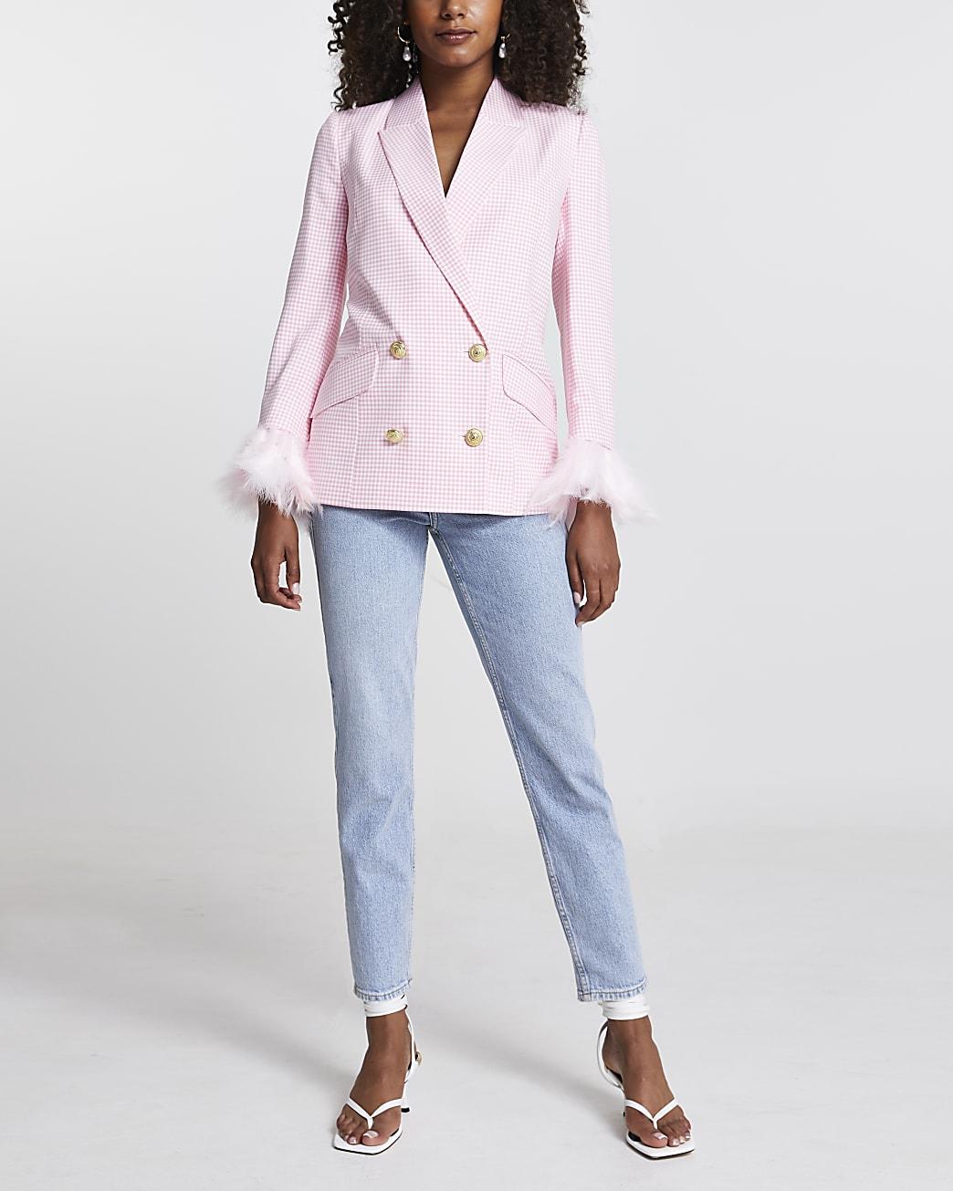 Pink gingham feather cuff blazer