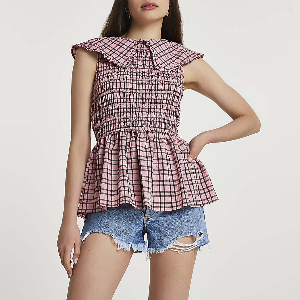 Pink gingham oversized collar peplum top
