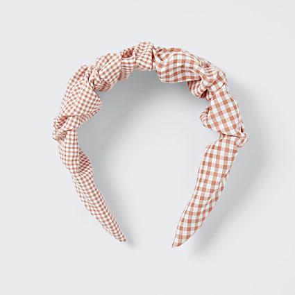 Pink gingham pleated headband
