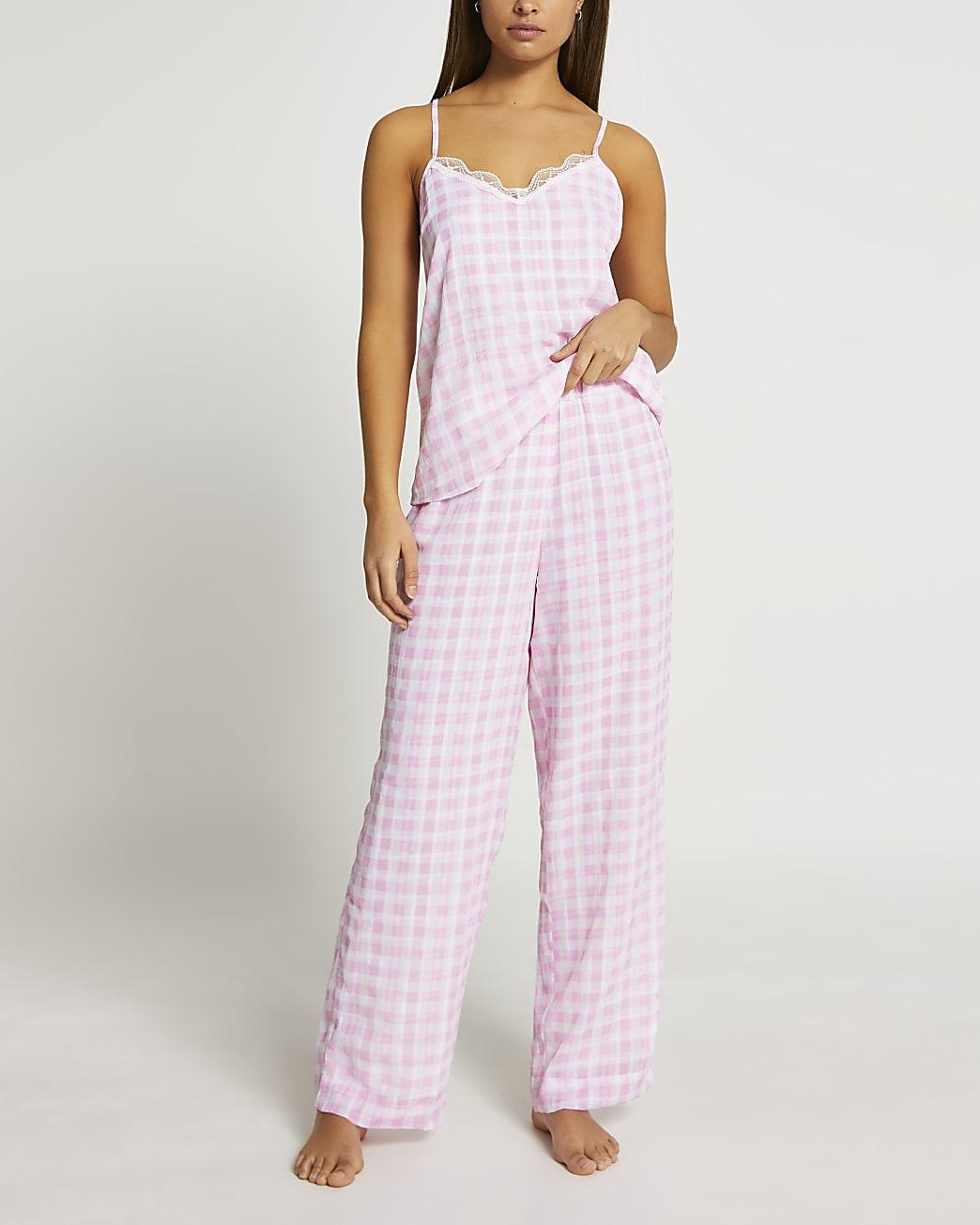 Pink gingham pyjama cami set