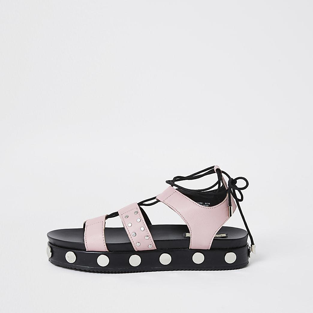 Pink gladiator stud flatform sandal