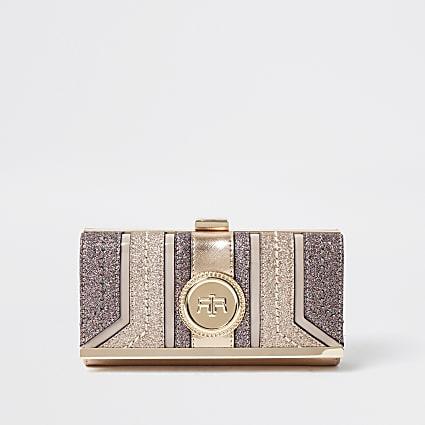 Pink glitter clip top purse